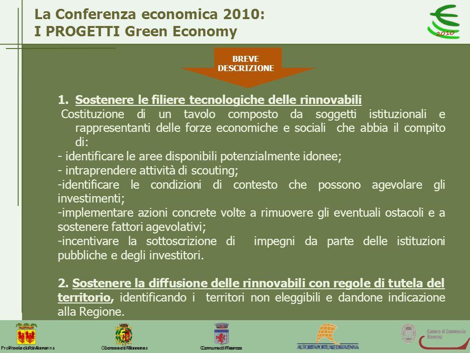 Comune di Ravenna Comune di FaenzaProvincia di Ravenna La Conferenza economica 2010: I PROGETTI Green Economy BREVE DESCRIZIONE 1.Sostenere le filiere