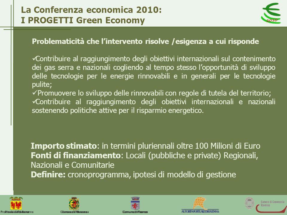 Comune di Ravenna Comune di FaenzaProvincia di Ravenna La Conferenza economica 2010: I PROGETTI Green Economy Problematicità che lintervento risolve /