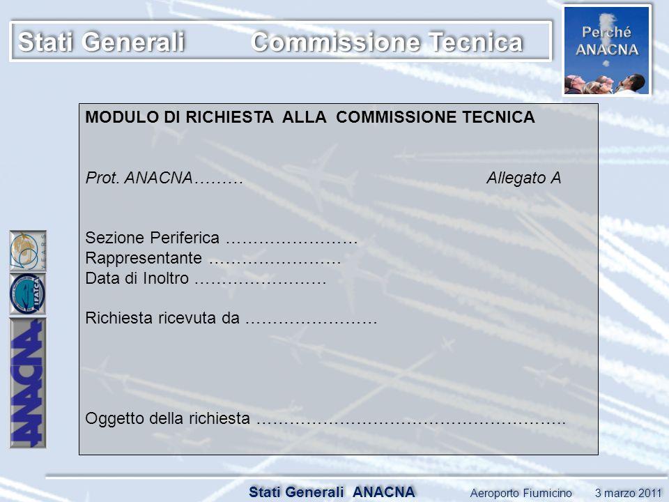 Stati Generali ANACNA Aeroporto Fiumicino 3 marzo 2011 MODULO DI RICHIESTA ALLA COMMISSIONE TECNICA Prot.