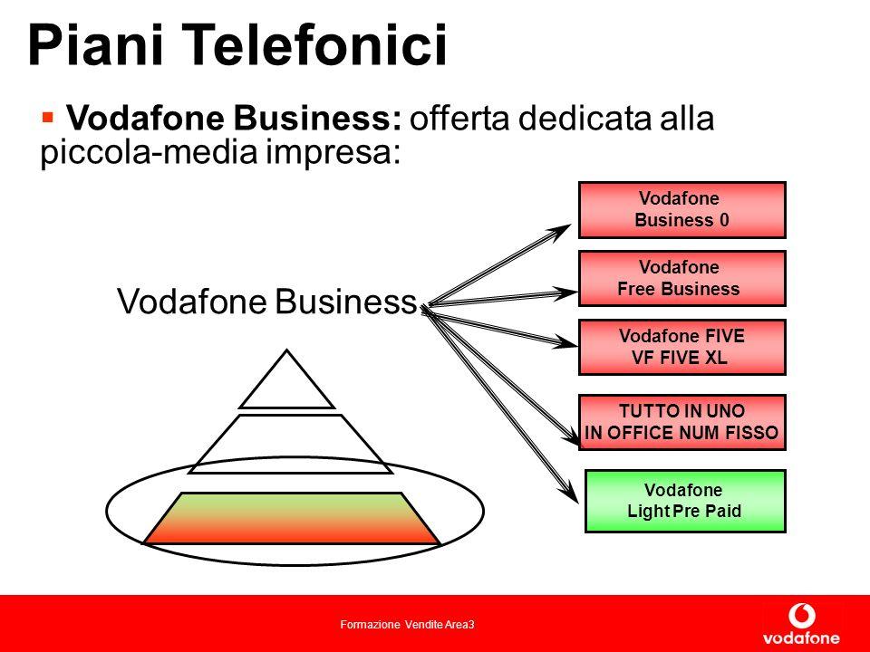 Formazione Vendite Area3 Piani Telefonici Vodafone Business: offerta dedicata alla piccola-media impresa: Vodafone Business Vodafone Light Pre Paid Vodafone Business 0 Vodafone Free Business Vodafone FIVE VF FIVE XL TUTTO IN UNO IN OFFICE NUM FISSO
