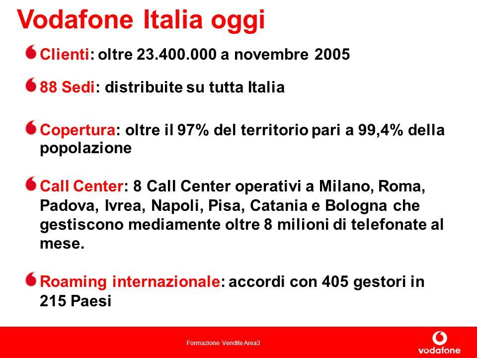 Formazione Vendite Area3 Vodafone Italia oggi Clienti: oltre 23.400.000 a novembre 2005 88 Sedi: distribuite su tutta Italia Copertura: oltre il 97% del territorio pari a 99,4% della popolazione Call Center: 8 Call Center operativi a Milano, Roma, Padova, Ivrea, Napoli, Pisa, Catania e Bologna che gestiscono mediamente oltre 8 milioni di telefonate al mese.