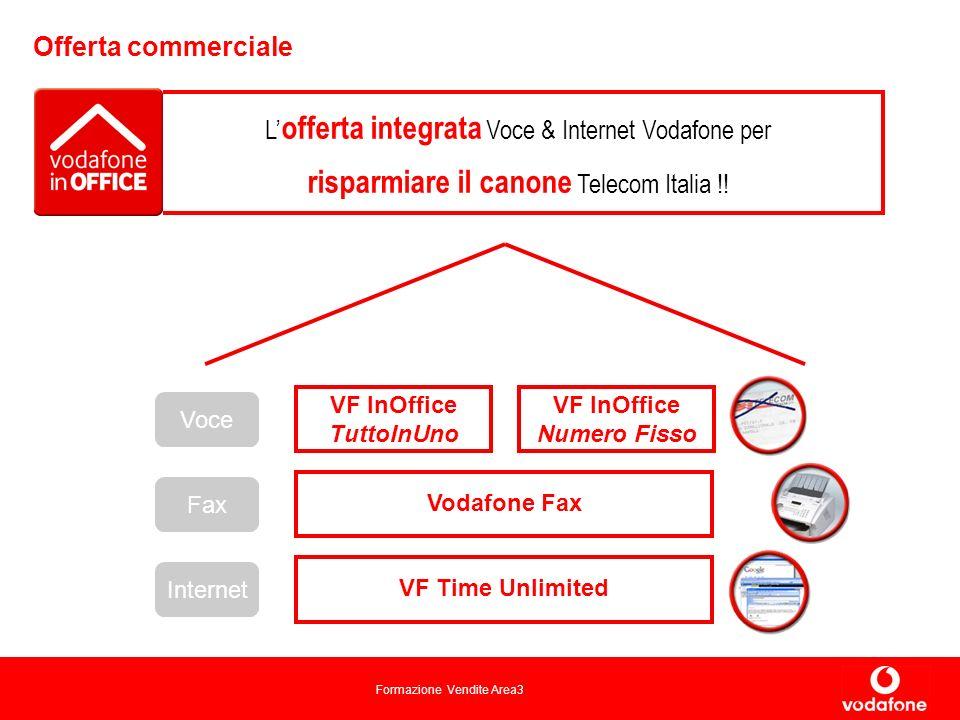 Formazione Vendite Area3 Offerta commerciale VF InOffice TuttoInUno VF InOffice Numero Fisso Voce Internet VF Time Unlimited Fax Vodafone Fax L offerta integrata Voce & Internet Vodafone per risparmiare il canone Telecom Italia !!