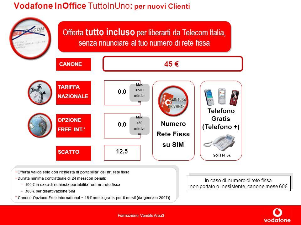 Formazione Vendite Area3 Vodafone InOffice TuttoInUno: per nuovi Clienti CANONE TARIFFA NAZIONALE SCATTO 0,0 12,5 Offerta tutto incluso per liberarti da Telecom Italia, senza rinunciare al tuo numero di rete fissa Telefono Gratis (Telefono +) Offerta valida solo con richiesta di portabilita del nr.