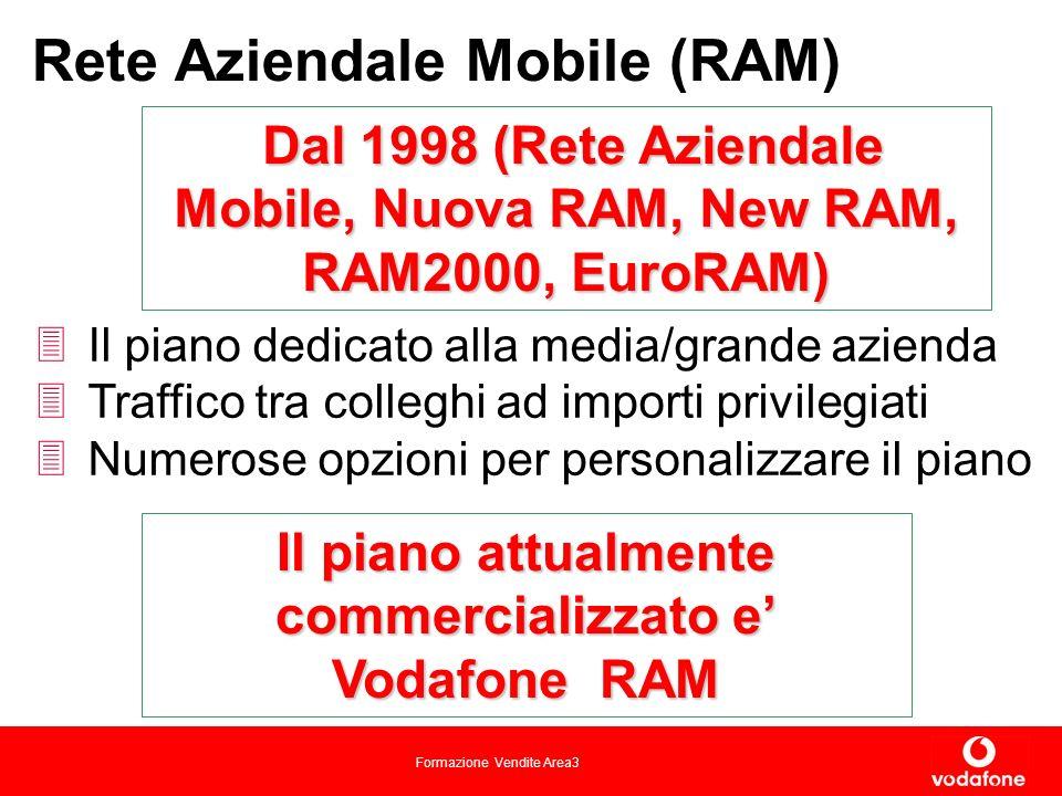 Formazione Vendite Area3 Il piano dedicato alla media/grande azienda Traffico tra colleghi ad importi privilegiati Numerose opzioni per personalizzare il piano Rete Aziendale Mobile (RAM) Dal 1998 (Rete Aziendale Mobile, Nuova RAM, New RAM, RAM2000, EuroRAM) Il piano attualmente commercializzato e Vodafone RAM