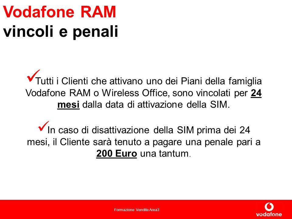 Formazione Vendite Area3 Vodafone RAM vincoli e penali Tutti i Clienti che attivano uno dei Piani della famiglia Vodafone RAM o Wireless Office, sono vincolati per 24 mesi dalla data di attivazione della SIM.