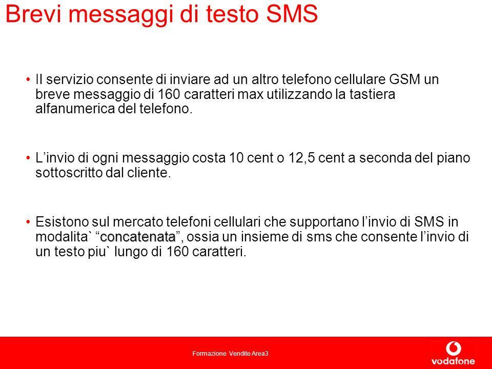 Formazione Vendite Area3 Brevi messaggi di testo SMS Il servizio consente di inviare ad un altro telefono cellulare GSM un breve messaggio di 160 caratteri max utilizzando la tastiera alfanumerica del telefono.