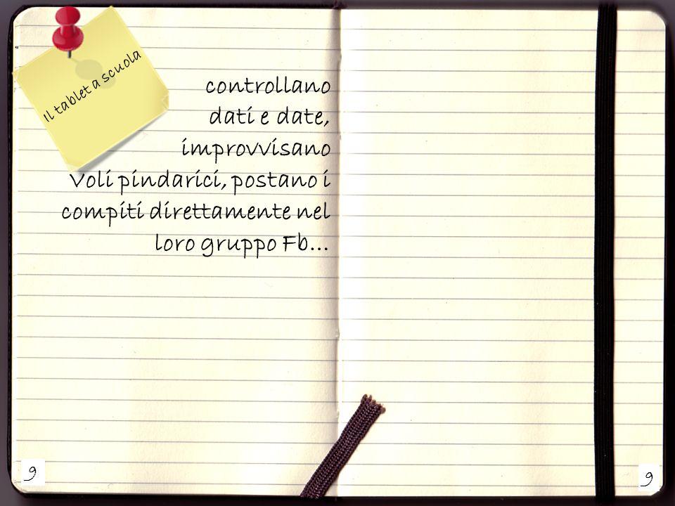 9 9 Il tablet a scuola controllano dati e date, improvvisano Voli pindarici, postano i compiti direttamente nel loro gruppo Fb…