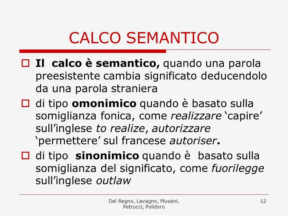 Del Regno, Lavagno, Mussini, Petrucci, Polidoro 12 Il calco è semantico, quando una parola preesistente cambia significato deducendolo da una parola s