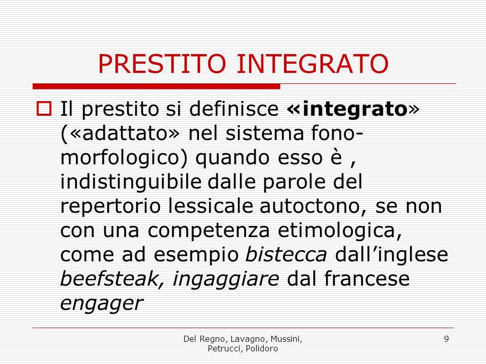 Del Regno, Lavagno, Mussini, Petrucci, Polidoro 9 Il prestito si definisce «integrato» («adattato» nel sistema fono- morfologico) quando esso è, indis