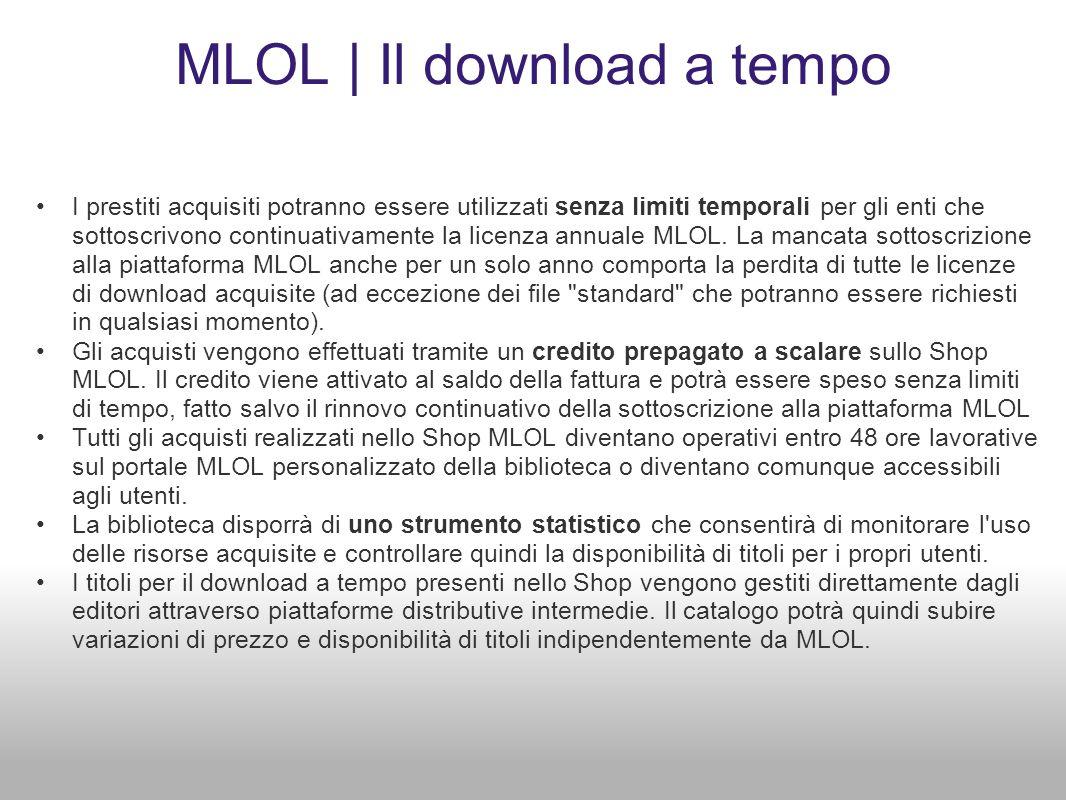 MLOL | Il download a tempo I prestiti acquisiti potranno essere utilizzati senza limiti temporali per gli enti che sottoscrivono continuativamente la