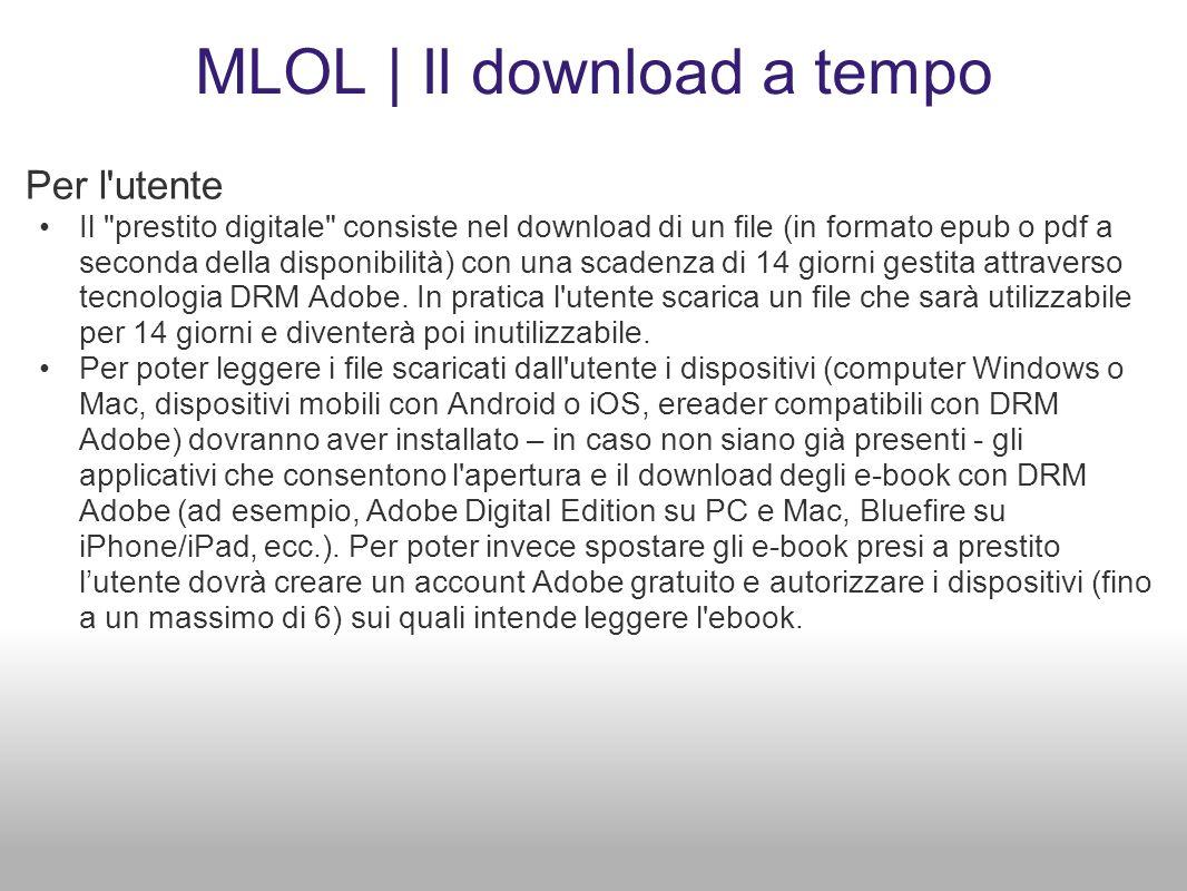 MLOL | Il download a tempo Per l'utente Il