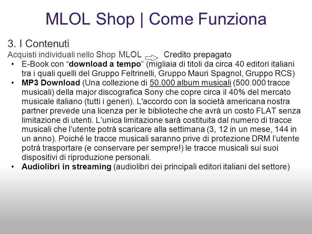 MLOL Shop | Come Funziona 3. I Contenuti Acquisti individuali nello Shop MLOL Credito prepagato E-Book con download a tempo (migliaia di titoli da cir