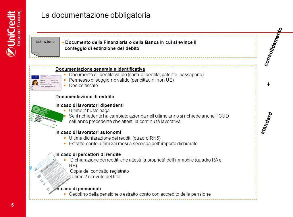 5 La documentazione obbligatoria Documentazione generale e identificativa Documento di identità valido (carta didentità, patente, passaporto) Permesso