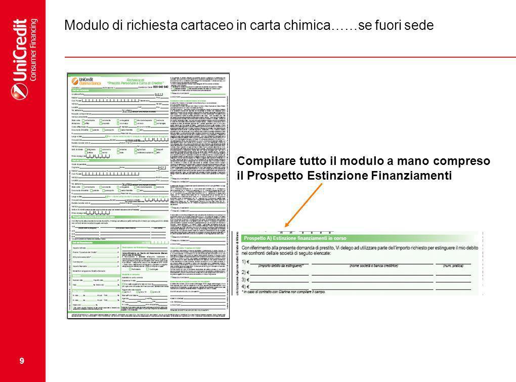 9 Modulo di richiesta cartaceo in carta chimica……se fuori sede Compilare tutto il modulo a mano compreso il Prospetto Estinzione Finanziamenti