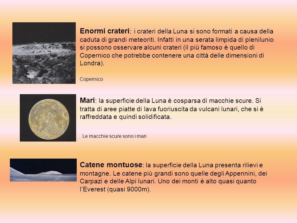 Enormi crateri : i crateri della Luna si sono formati a causa della caduta di grandi meteoriti.