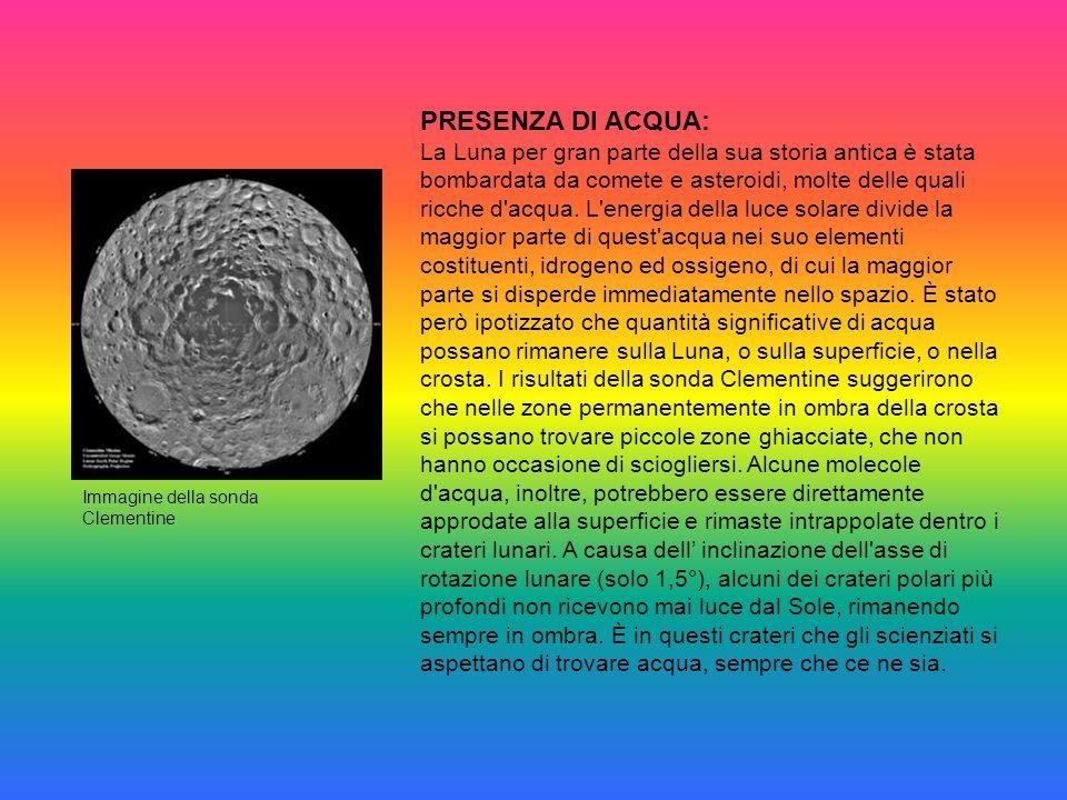 PRESENZA DI ACQUA: La Luna per gran parte della sua storia antica è stata bombardata da comete e asteroidi, molte delle quali ricche d acqua.