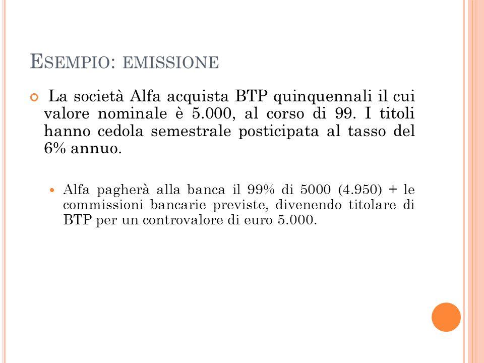 E SEMPIO : EMISSIONE La società Alfa acquista BTP quinquennali il cui valore nominale è 5.000, al corso di 99. I titoli hanno cedola semestrale postic