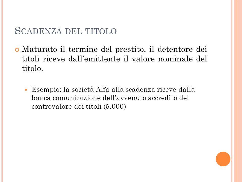 S CADENZA DEL TITOLO Maturato il termine del prestito, il detentore dei titoli riceve dallemittente il valore nominale del titolo.
