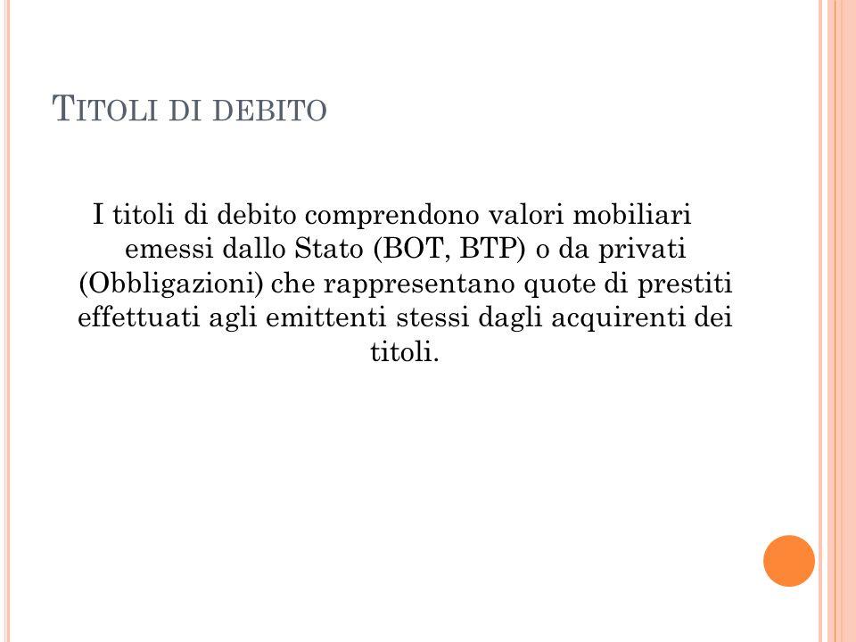 T ITOLI DI DEBITO I titoli di debito comprendono valori mobiliari emessi dallo Stato (BOT, BTP) o da privati (Obbligazioni) che rappresentano quote di
