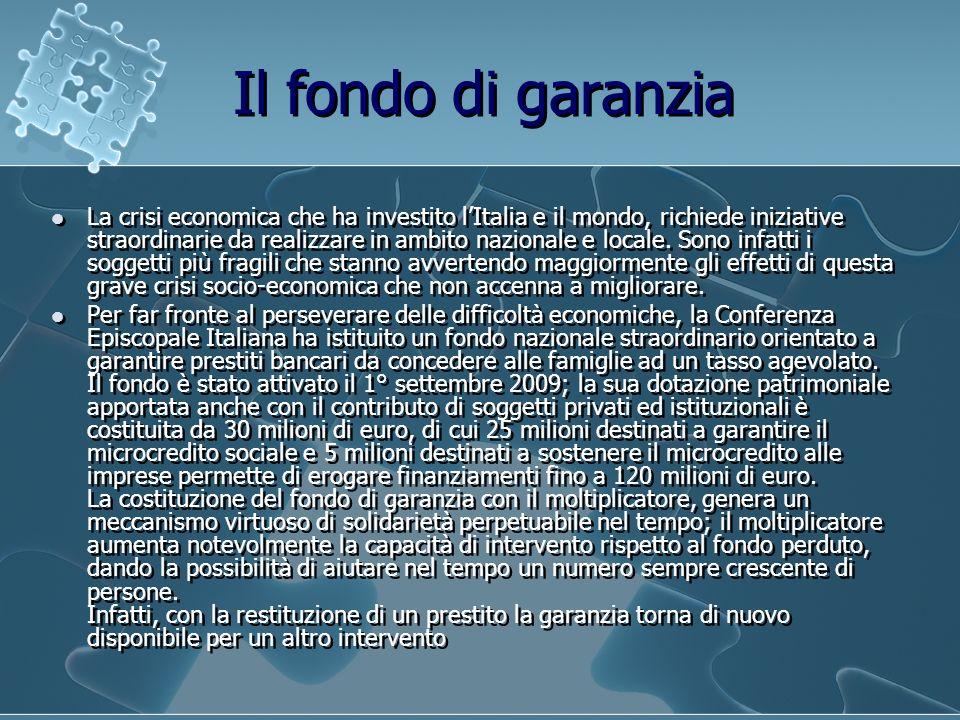Il fondo di garanzia La crisi economica che ha investito lItalia e il mondo, richiede iniziative straordinarie da realizzare in ambito nazionale e loc