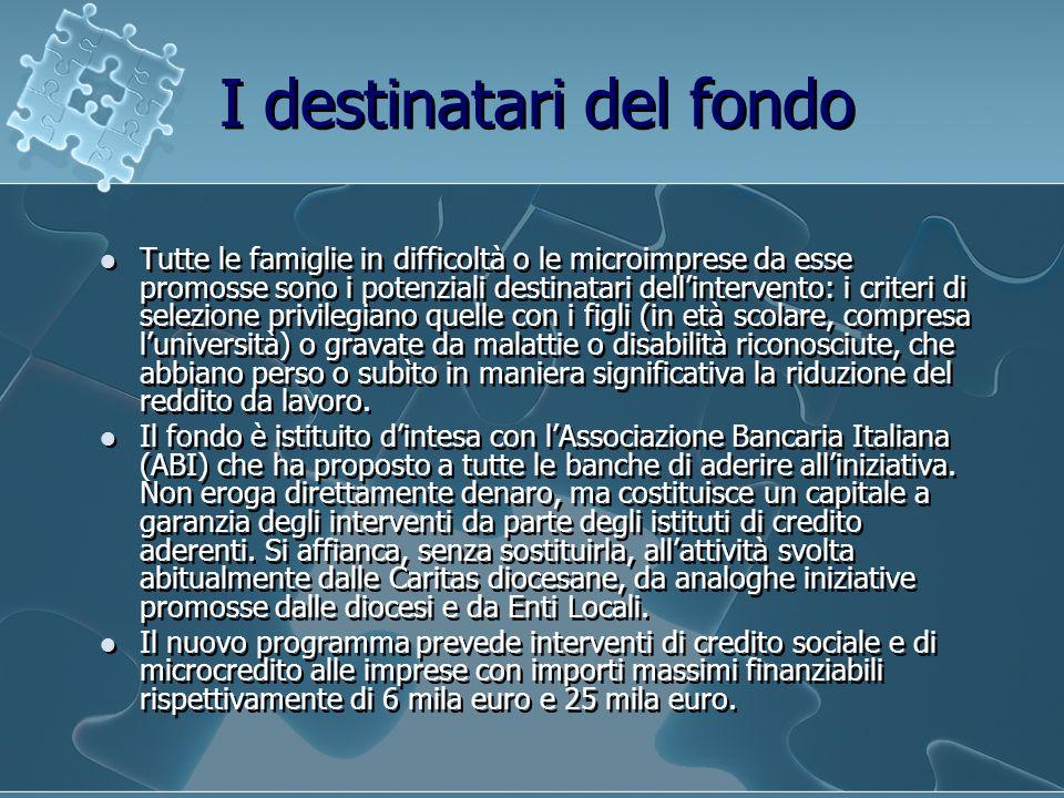 I destinatari del fondo Tutte le famiglie in difficoltà o le microimprese da esse promosse sono i potenziali destinatari dellintervento: i criteri di