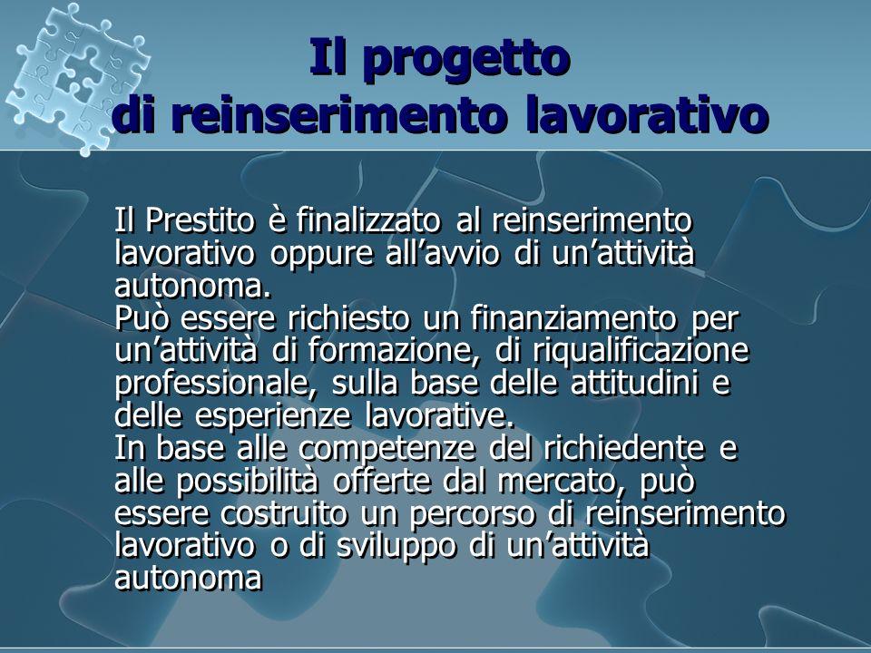 Il progetto di reinserimento lavorativo Il Prestito è finalizzato al reinserimento lavorativo oppure allavvio di unattività autonoma. Può essere richi