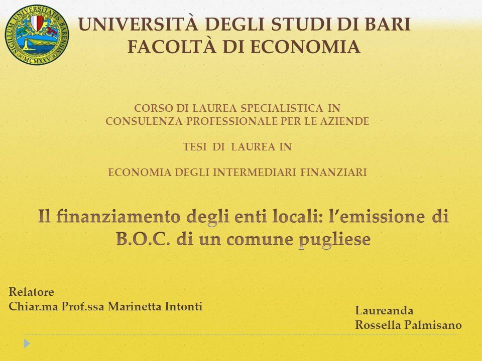 UNIVERSITÀ DEGLI STUDI DI BARI FACOLTÀ DI ECONOMIA CORSO DI LAUREA SPECIALISTICA IN CONSULENZA PROFESSIONALE PER LE AZIENDE TESI DI LAUREA IN ECONOMIA DEGLI INTERMEDIARI FINANZIARI Relatore Chiar.ma Prof.ssa Marinetta Intonti Laureanda Rossella Palmisano