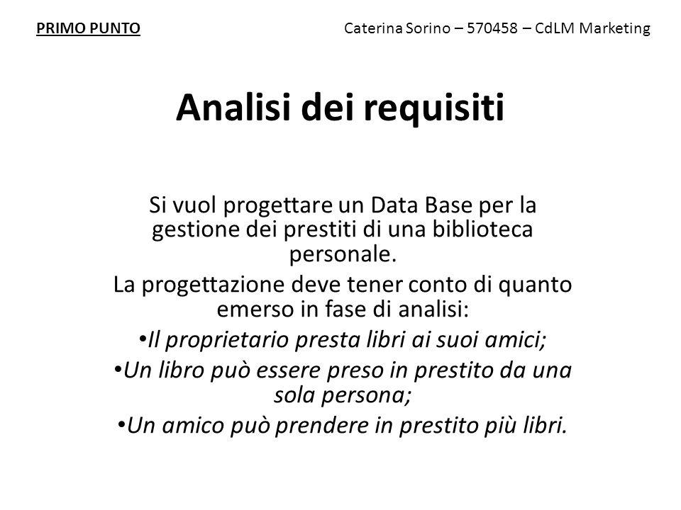 Analisi dei requisiti Si vuol progettare un Data Base per la gestione dei prestiti di una biblioteca personale.