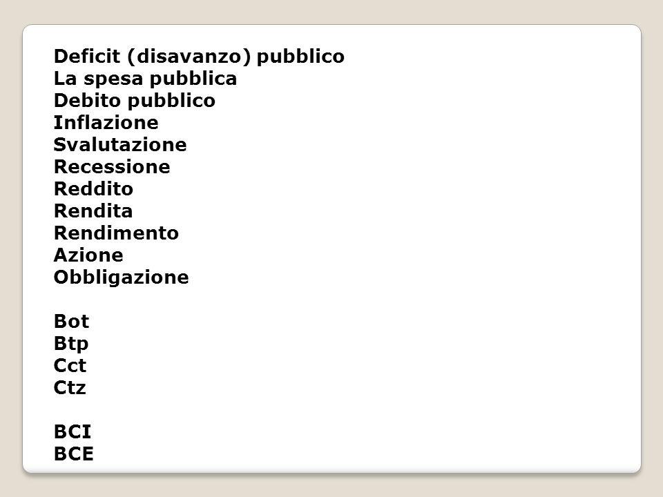 Deficit (disavanzo) pubblico La spesa pubblica Debito pubblico Inflazione Svalutazione Recessione Reddito Rendita Rendimento Azione Obbligazione Bot B