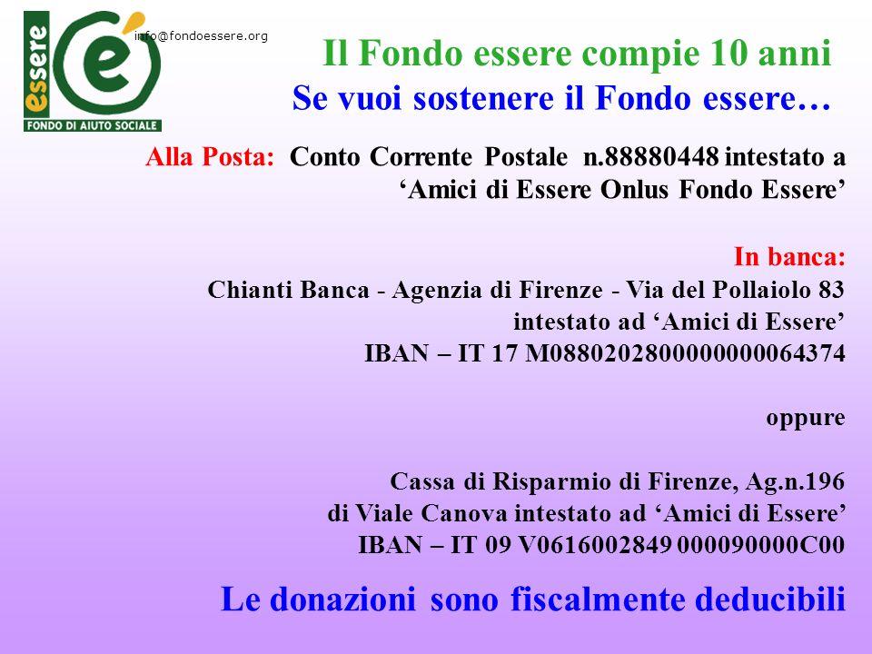 Alla Posta: Conto Corrente Postale n.88880448 intestato a Amici di Essere Onlus Fondo Essere In banca: Chianti Banca - Agenzia di Firenze - Via del Po