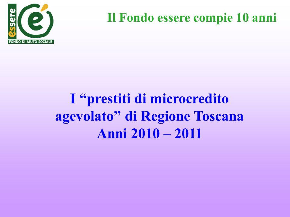 Il Fondo essere compie 10 anni I prestiti di microcredito agevolato di Regione Toscana Anni 2010 – 2011