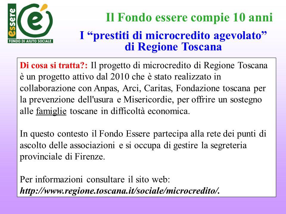 Il Fondo essere compie 10 anni Di cosa si tratta?: Il progetto di microcredito di Regione Toscana è un progetto attivo dal 2010 che è stato realizzato