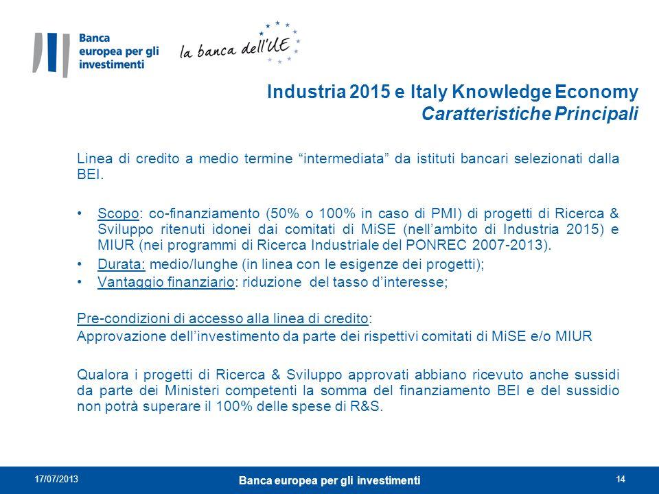 Industria 2015 e Italy Knowledge Economy Caratteristiche Principali Linea di credito a medio termine intermediata da istituti bancari selezionati dall
