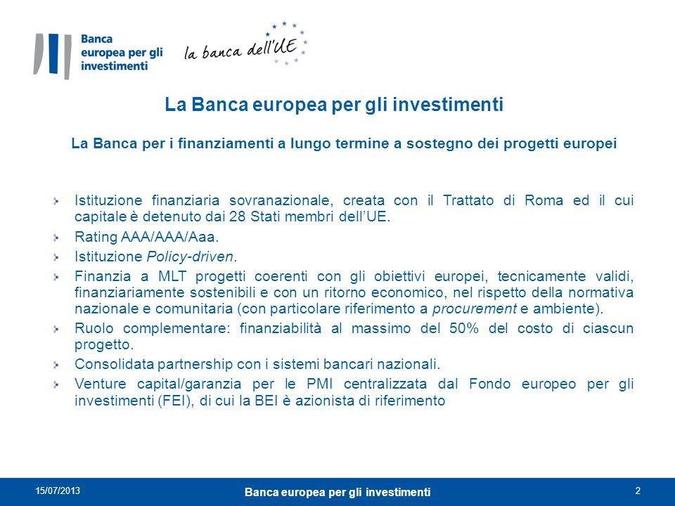 La Banca europea per gli investimenti La Banca per i finanziamenti a lungo termine a sostegno dei progetti europei Istituzione finanziaria sovranazion