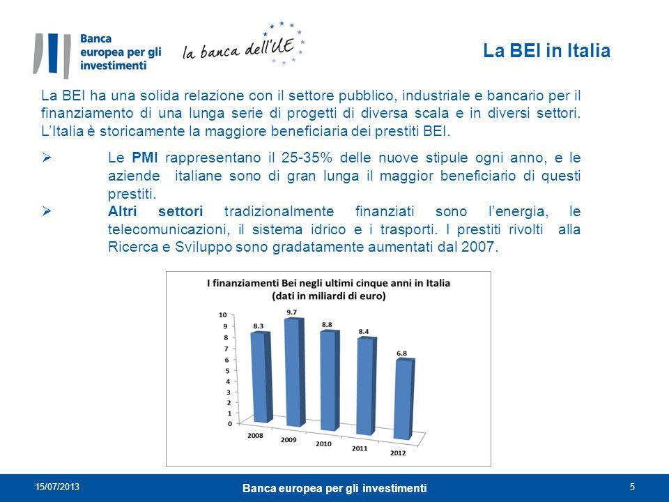 La BEI in Italia La BEI ha una solida relazione con il settore pubblico, industriale e bancario per il finanziamento di una lunga serie di progetti di
