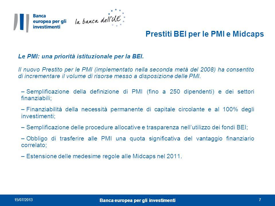 Le PMI: una priorità istituzionale per la BEI. Il nuovo Prestito per le PMI (implementato nella seconda metà del 2008) ha consentito di incrementare i