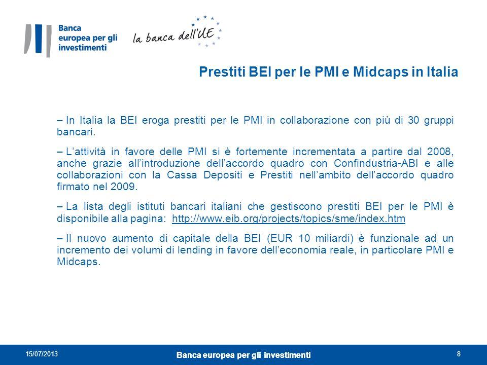 Intermediario Finanziario/ Leasing Finanziamenti basati su condizioni BEI PMI Prestiti BEI per le PMI: schema di funzionamento Provvista BEIRendicontazione 62.000 PMI finanziate nel periodo 2008-2012 Totale nuovi finanziamenti verso PMI nel periodo 2008-2012: EUR 12,4 miliardi Nuove stipule di prestiti 2012 in Italia per PMI : EUR 2,5 miliardi 15/07/2013 Banca europea per gli investimenti 9