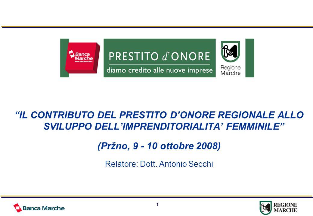 1 IL CONTRIBUTO DEL PRESTITO DONORE REGIONALE ALLO SVILUPPO DELLIMPRENDITORIALITA FEMMINILE (Pržno, 9 - 10 ottobre 2008) Relatore: Dott. Antonio Secch