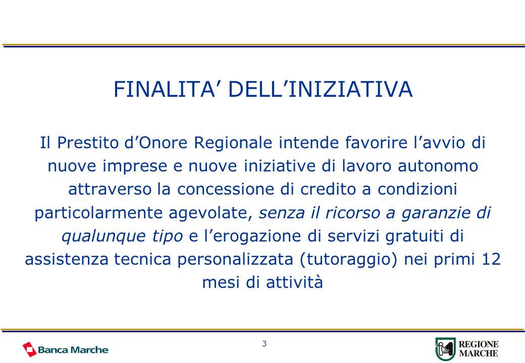 3 FINALITA DELLINIZIATIVA Il Prestito dOnore Regionale intende favorire lavvio di nuove imprese e nuove iniziative di lavoro autonomo attraverso la co