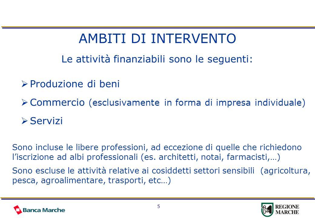 5 AMBITI DI INTERVENTO Le attività finanziabili sono le seguenti: Produzione di beni Commercio (esclusivamente in forma di impresa individuale) Serviz