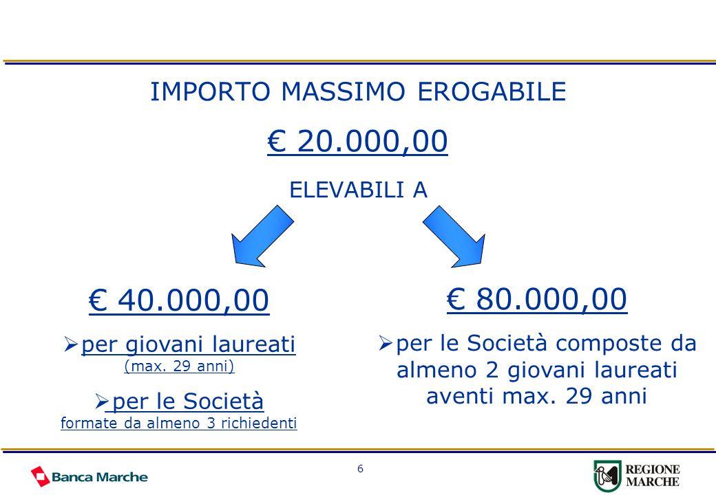 6 IMPORTO MASSIMO EROGABILE 20.000,00 ELEVABILI A 40.000,00 per giovani laureati (max. 29 anni) per le Società formate da almeno 3 richiedenti 80.000,
