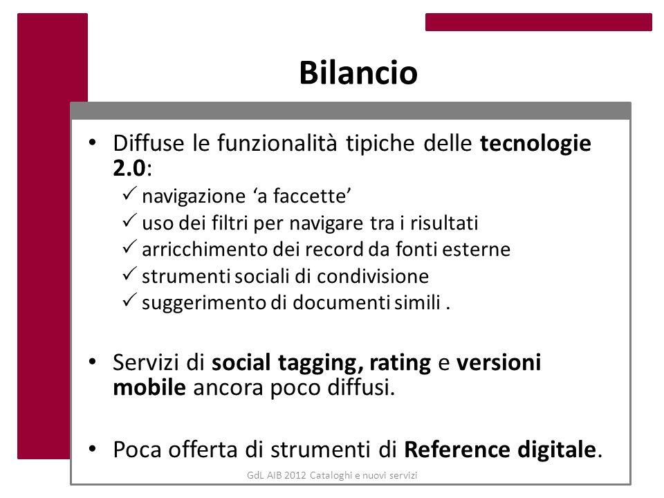 GdL AIB 2012 Cataloghi e nuovi servizi Bilancio Diffuse le funzionalità tipiche delle tecnologie 2.0: navigazione a faccette uso dei filtri per naviga