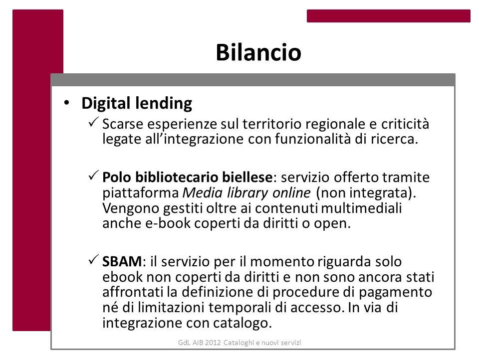 GdL AIB 2012 Cataloghi e nuovi servizi Bilancio Digital lending Scarse esperienze sul territorio regionale e criticità legate allintegrazione con funz