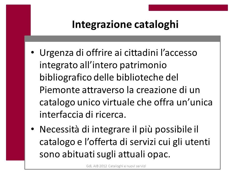 GdL AIB 2012 Cataloghi e nuovi servizi Integrazione cataloghi Urgenza di offrire ai cittadini laccesso integrato allintero patrimonio bibliografico de