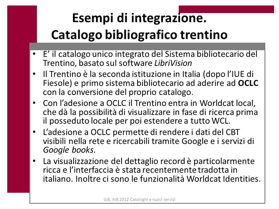 GdL AIB 2012 Cataloghi e nuovi servizi Esempi di integrazione. Catalogo bibliografico trentino E il catalogo unico integrato del Sistema bibliotecario