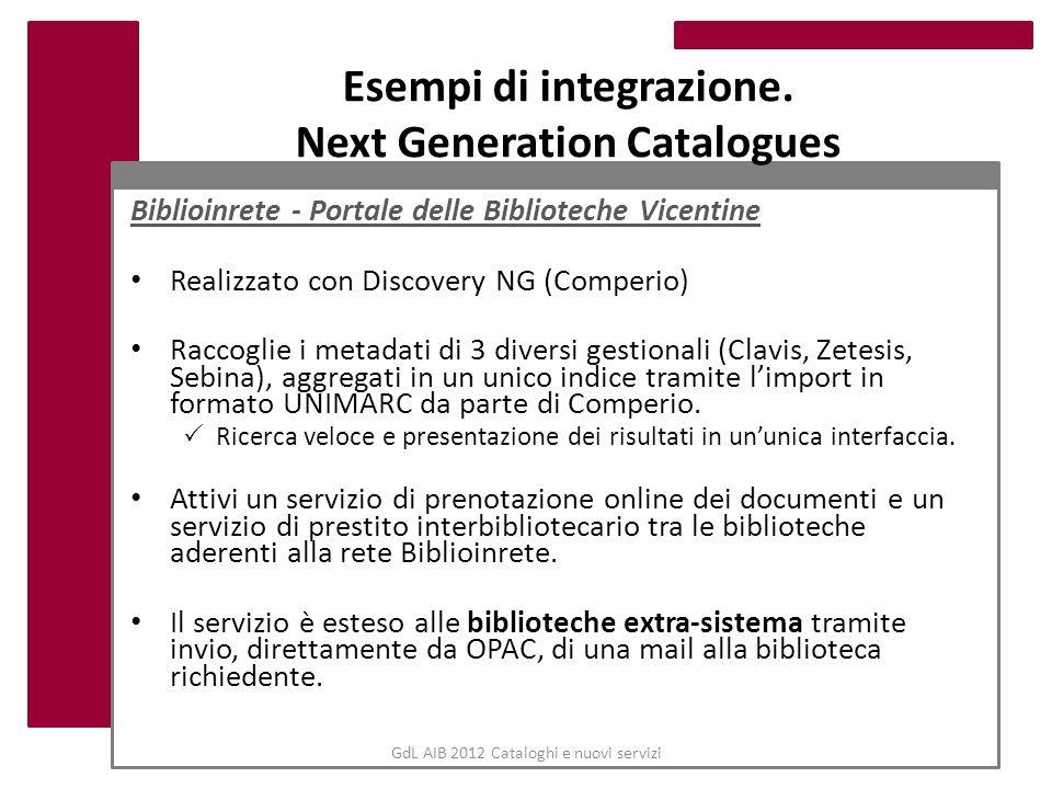 GdL AIB 2012 Cataloghi e nuovi servizi Esempi di integrazione. Next Generation Catalogues Biblioinrete - Portale delle Biblioteche Vicentine Realizzat