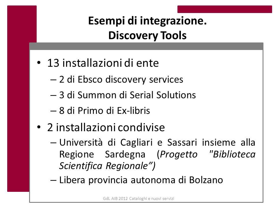 GdL AIB 2012 Cataloghi e nuovi servizi Esempi di integrazione. Discovery Tools 13 installazioni di ente – 2 di Ebsco discovery services – 3 di Summon