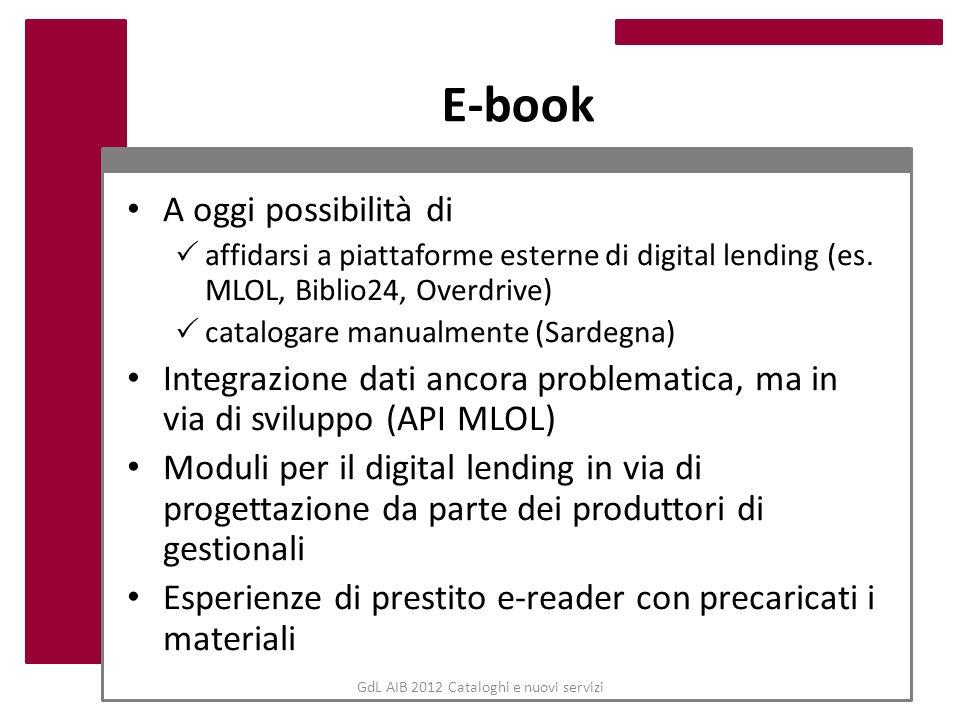 GdL AIB 2012 Cataloghi e nuovi servizi E-book A oggi possibilità di affidarsi a piattaforme esterne di digital lending (es. MLOL, Biblio24, Overdrive)