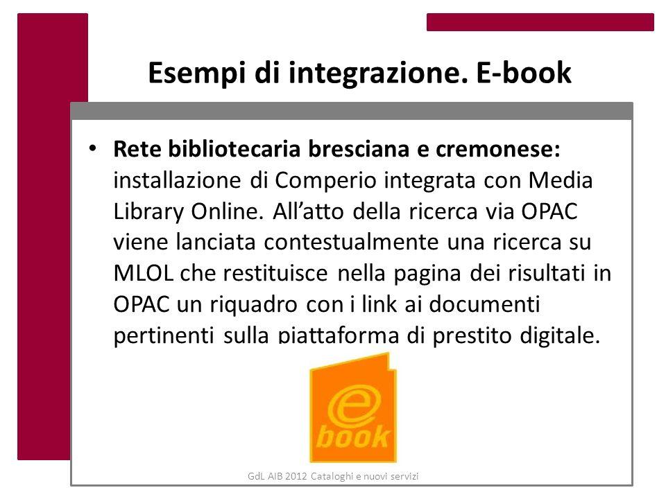 GdL AIB 2012 Cataloghi e nuovi servizi Esempi di integrazione. E-book Rete bibliotecaria bresciana e cremonese: installazione di Comperio integrata co