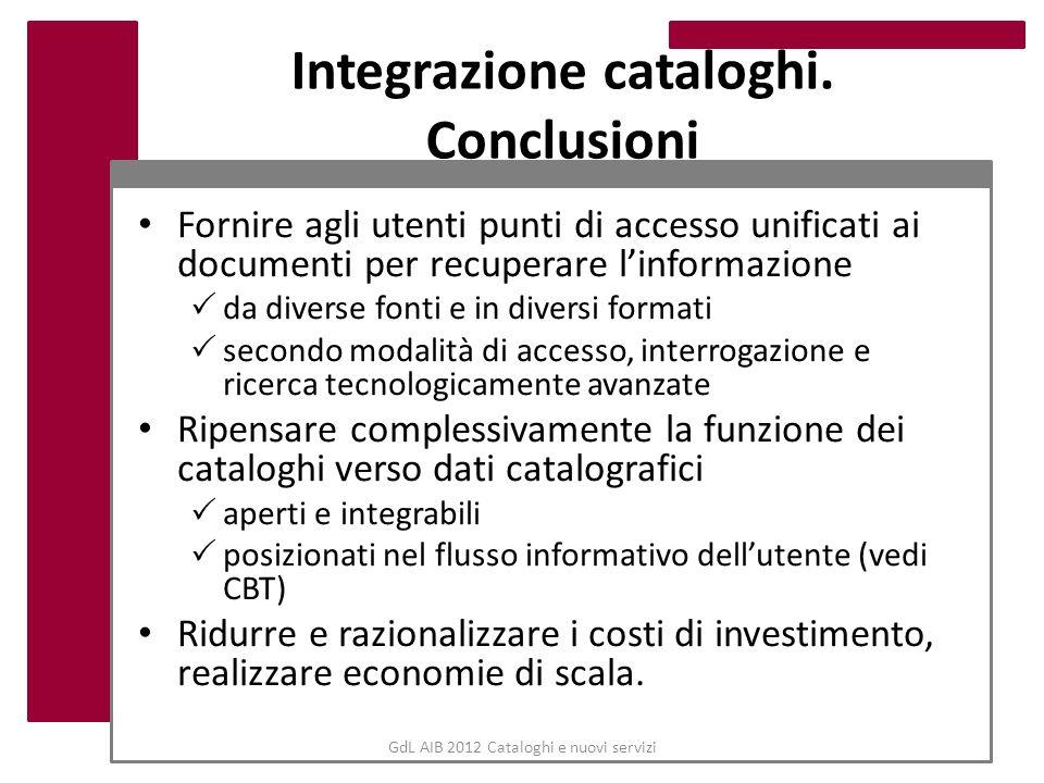 GdL AIB 2012 Cataloghi e nuovi servizi Integrazione cataloghi. Conclusioni Fornire agli utenti punti di accesso unificati ai documenti per recuperare